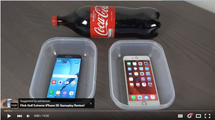 S7 and iPhone Cocacola test