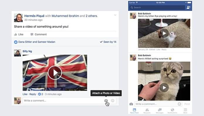 Facebook video comment feature