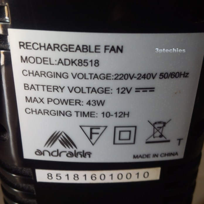 andrakk rechargeable standing fan