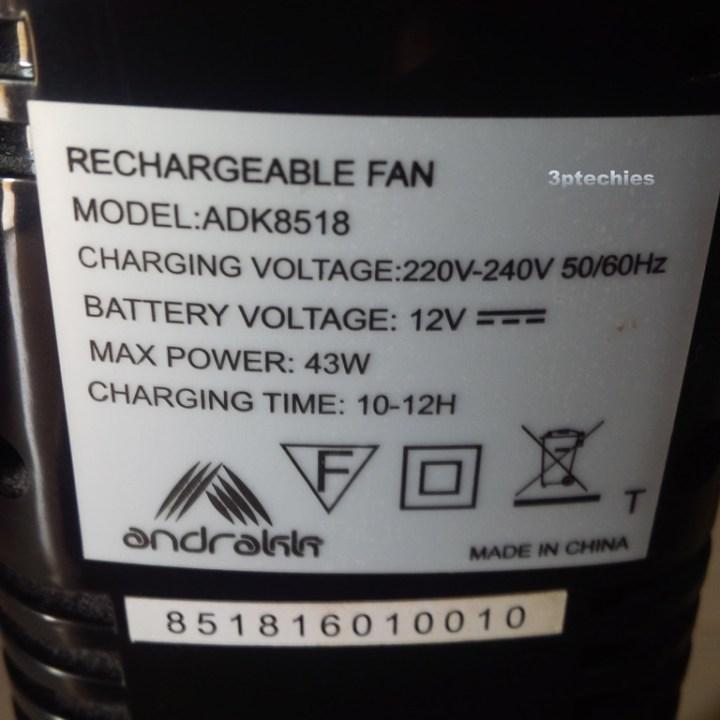 andrakk rechargeable standing fan