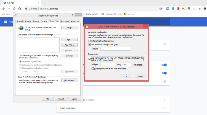 how to Set a proxy server in Chrome