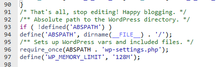 edit wp-config