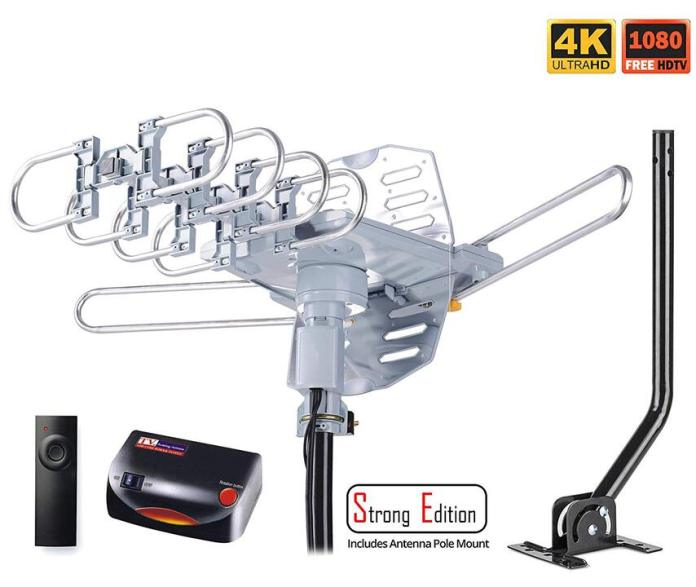 pingbingding HDTV Antenna Amplified Digital Outdoor Antenna with Mounting Pole