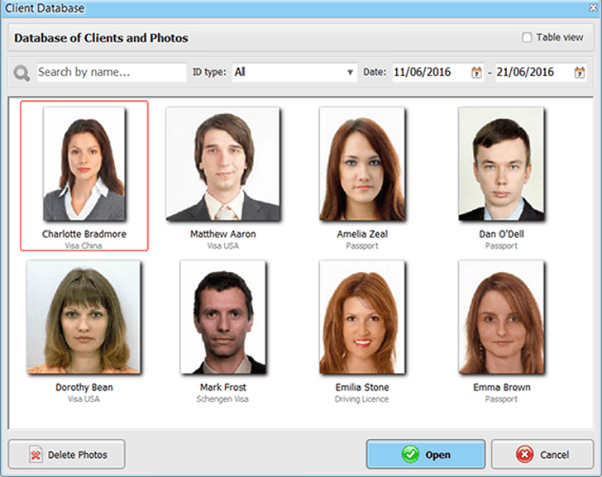 Passport Photo Maker client database