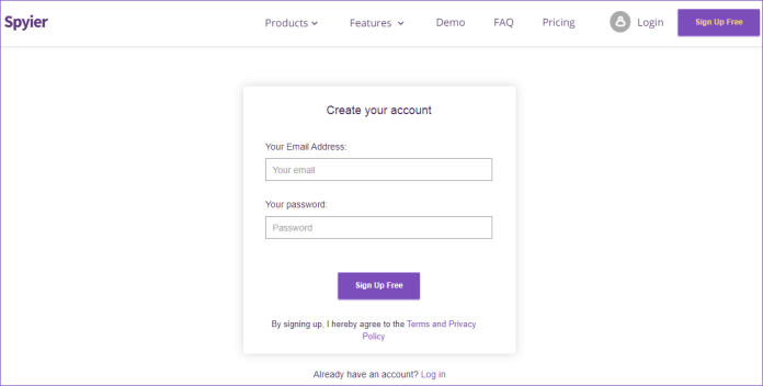 spyier sign-up process
