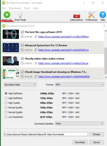 4K Video Downloader Paste Link