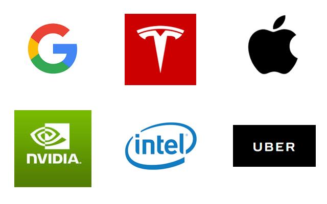 オートパイロットシステム開発企業(テスラ、Google、アップル、Uber(ウーバー)、nVidia、インテル)