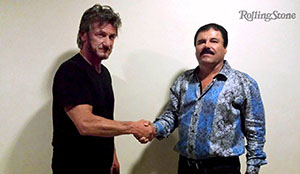 "Actor Sean Penn (L) shakes hands with Mexican drug lord Joaquin ""Chapo"" Guzman in Mexico, in this undated Rolling Stone handout photo obtained by Reuters on January 10, 2016."