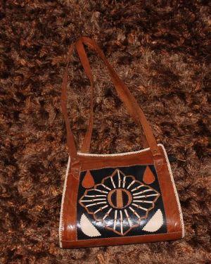 Unique brown African tribal print leather shoulder bag