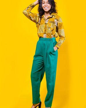 The Yellow Candice Shirt 3reeC's Chic Creations and Collections African Print Ankara Wax Print Dashiki Kente Ethnic Tribal Collar Shirt Top