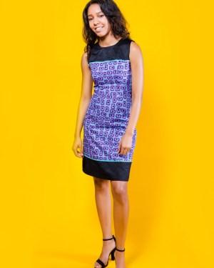 The Jacqueline Dress 3reec's Chic Creations and Collections Black Purple Ankara Dashiki Kente African Print Ankarastyles Ethnic Tribal Midi Dress