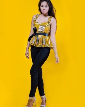 Yellow Brown 3reeCs African Print Ankara Wax Print Peplum Top