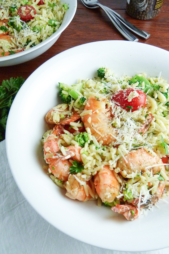 spicy shrimp and orzo with broccoli and cherry tomatoes