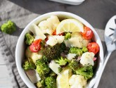 easy lemon roasted broccoli, cauliflower, and tomatoes