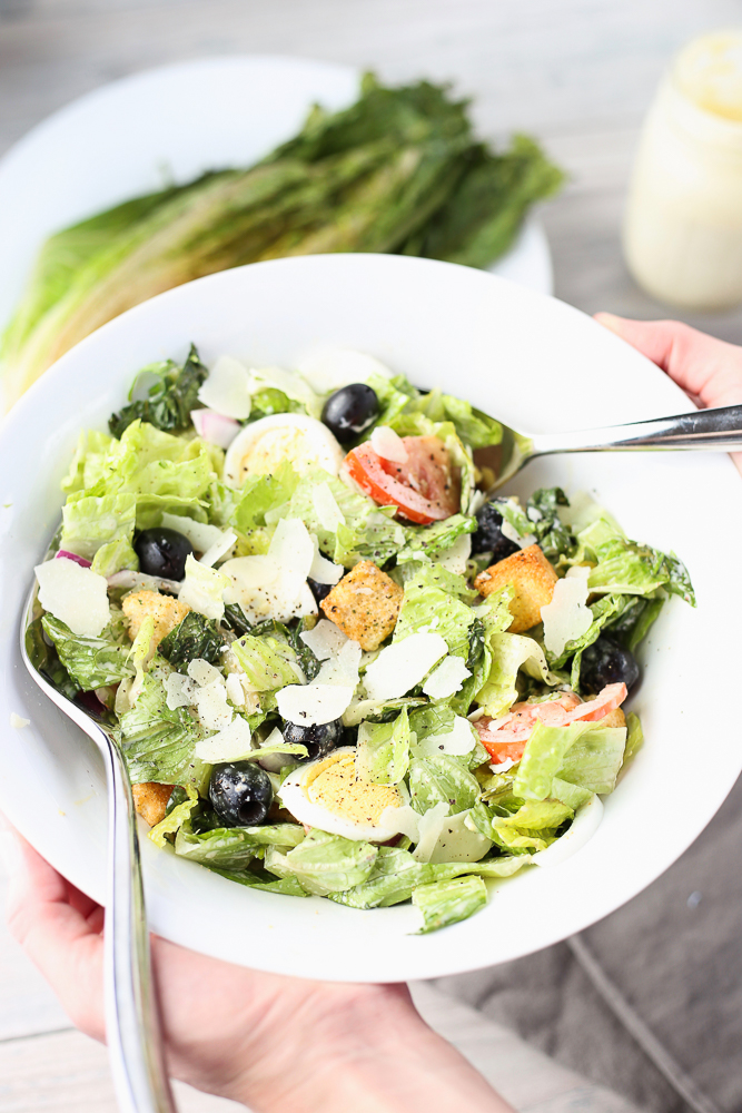 grilled romaine salad with homemade caesar dressing
