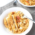 Creamy Linguine Bowls with Sun-dried Tomatoes and Breaded Chicken