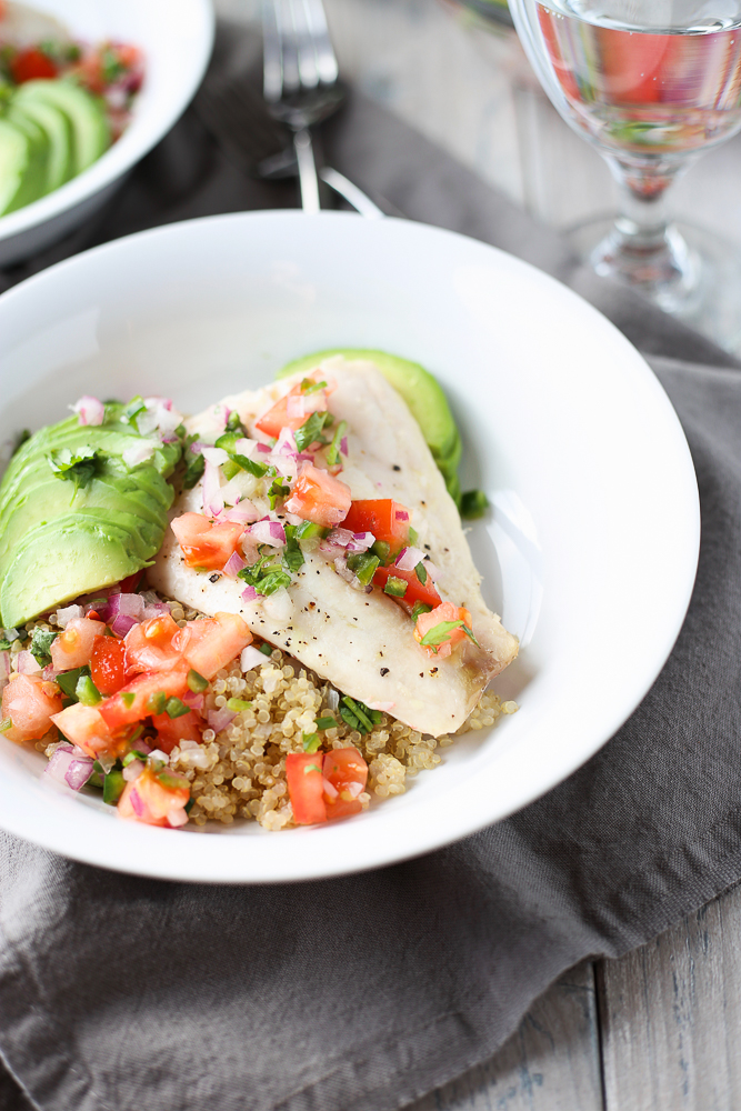 red snapper with avocado tomato salsa and quinoa