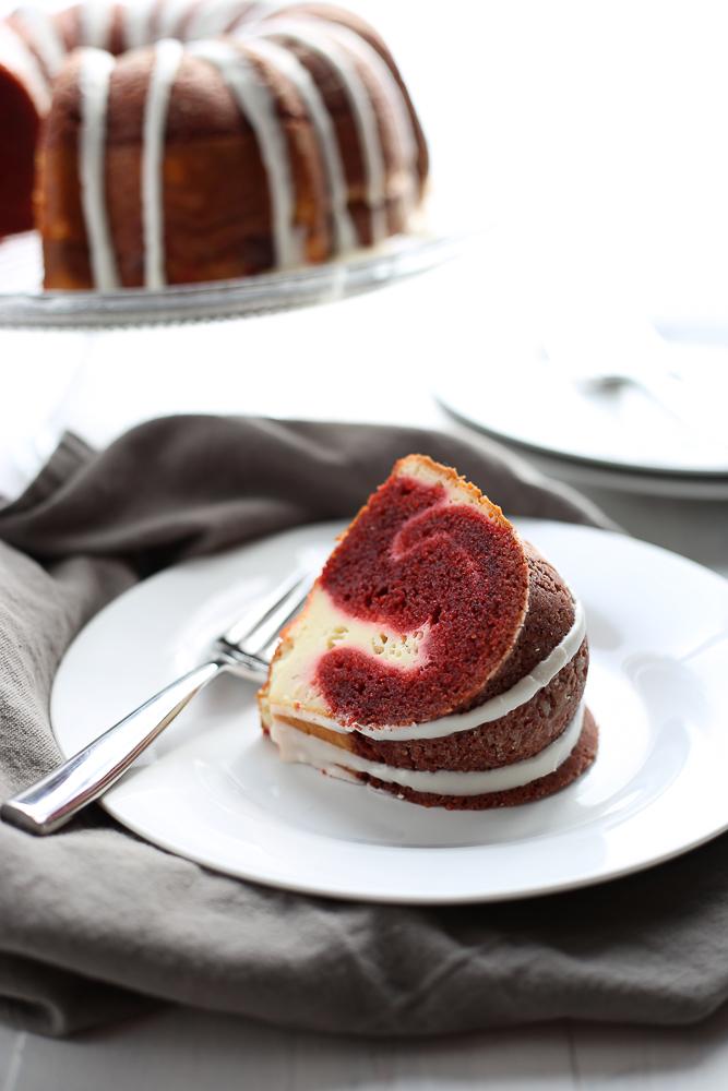 red velvet + cream cheese bundt cake