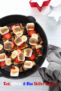 red, white, and blue skillet s'mores