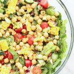 Farmer's Market Veggie and Chickpea Salad with Lemon-Cilantro Dressing