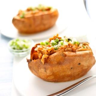 easiest weeknight bbq ranch chicken stuffed sweet potatoes