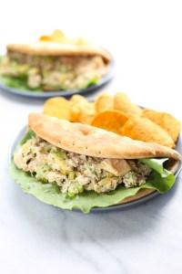 my favorite tuna salad and avocado pita pockets