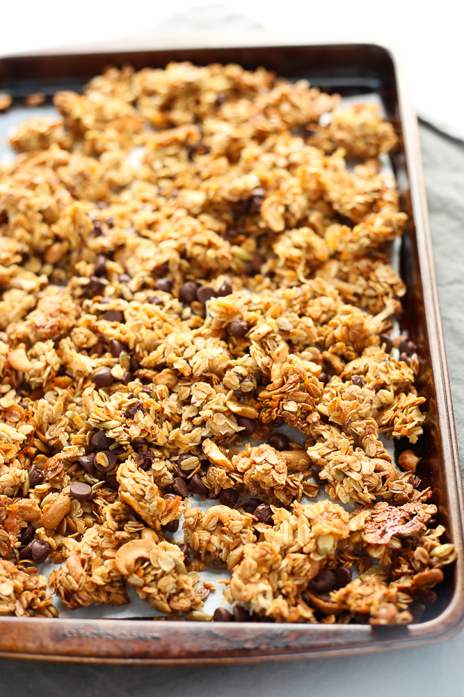 coconut cashew granola with chocolate chips