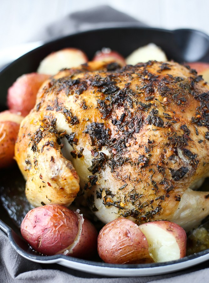 easy weeknight garlic butter & herb roast chicken