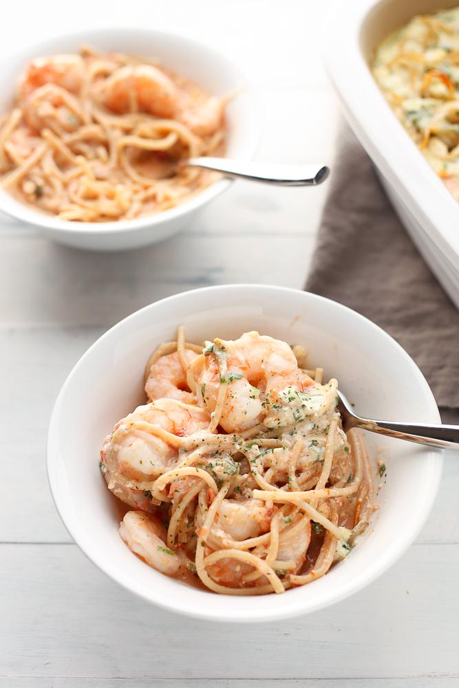 cheesy shrimp and spaghetti casserole