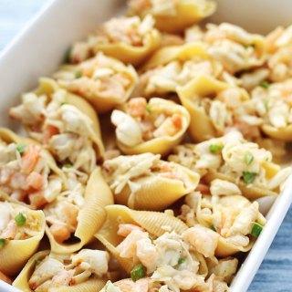shrimp and crab stuffed jumbo pasta shells with cauliflower sauce