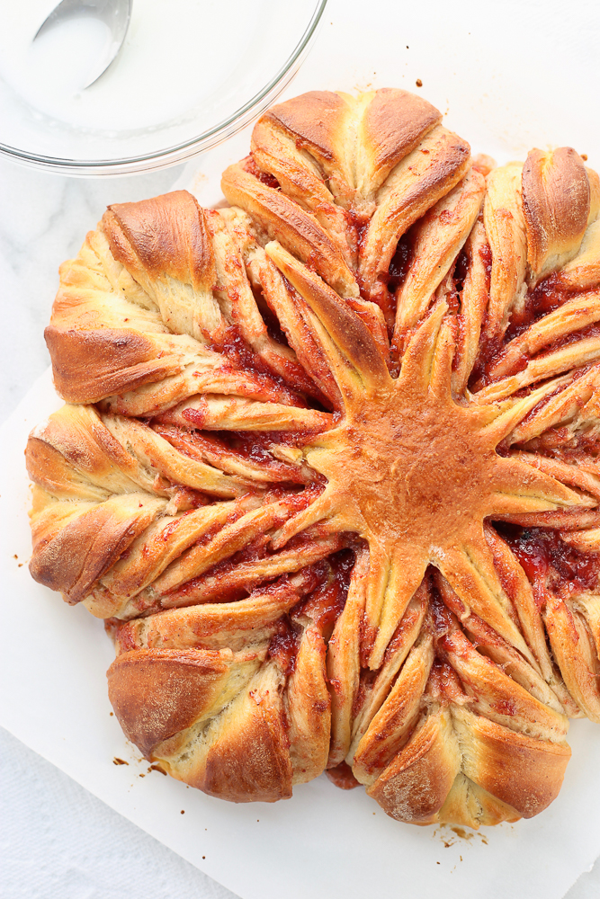 strawberry twisted snowflake bread