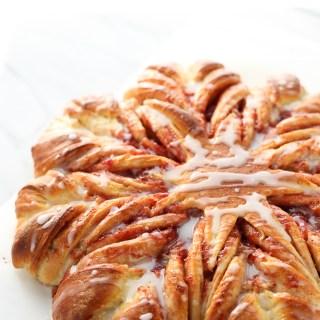 strawberry braided snowflake bread