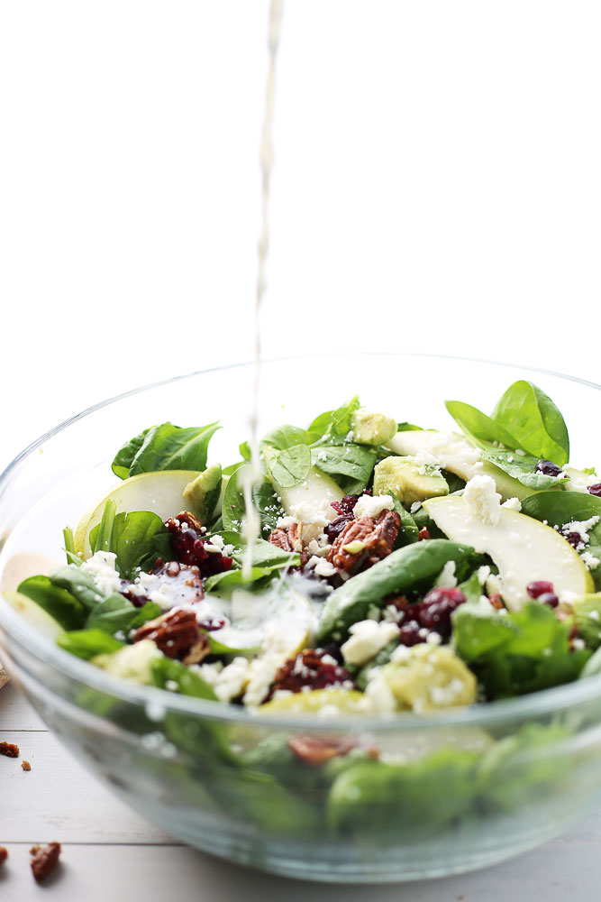 winter spinach, pear, and pecan salad with honey poppy seed dressing