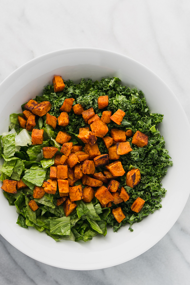 Kale and Romaine Salad with Roasted Sweet Potatoes + Tips for Making Salads