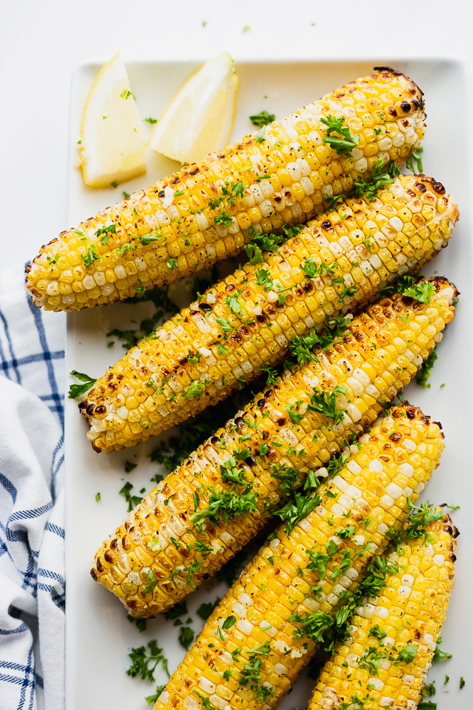 Super Easy Grilled Sweet Corn with Parsley