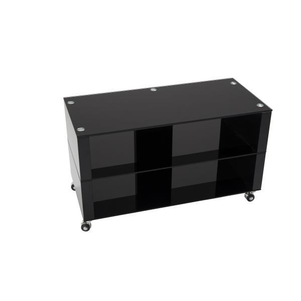 meuble tv a roulettes 90x42cm verre noir chelsy