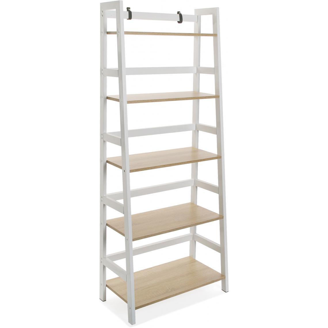 meuble de rangement 5 etageres blanc faye
