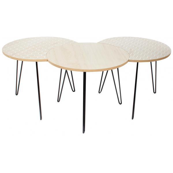 set de 3 tables basses emboitables imprime geometrique blanc pietement en fer ines