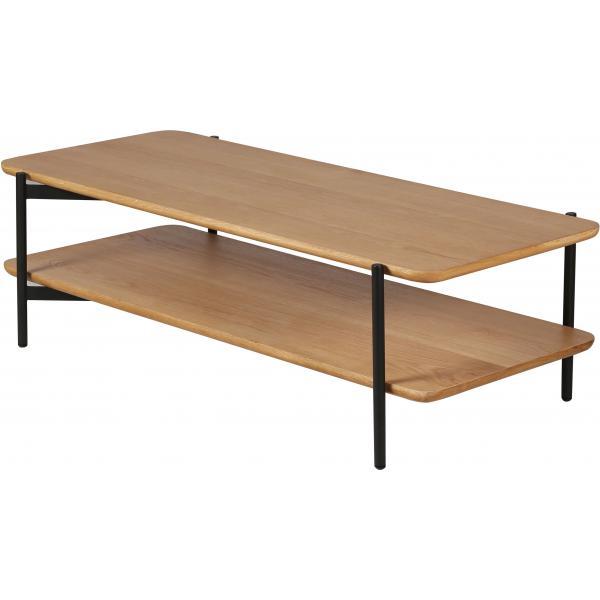 table basse a 2 plateaux en chene et metal noir philou