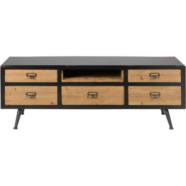 meuble tv avec 5 tiroirs et 1 niche structure et pietement en fer noir shelby