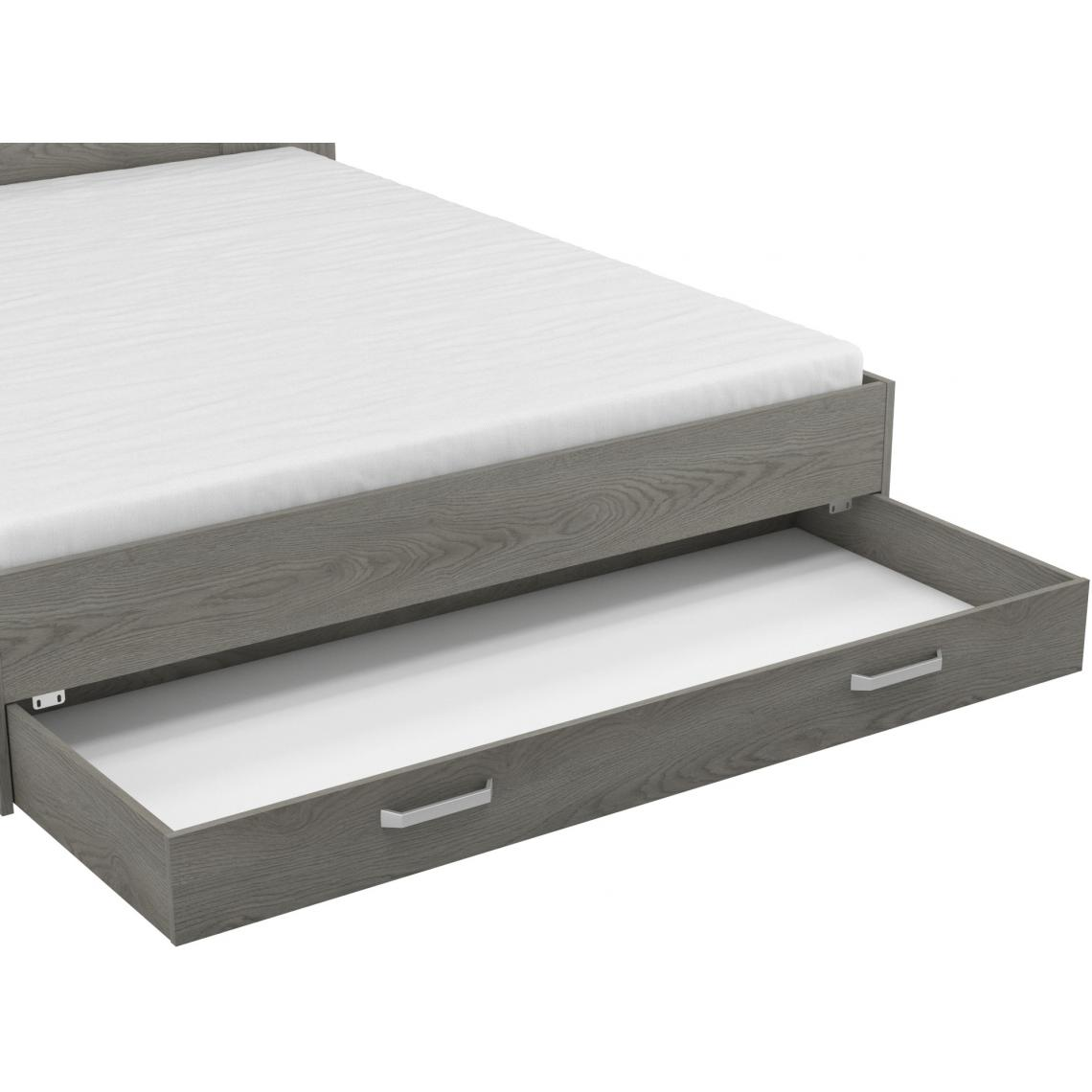 lit gris 160x200cm avec 1 tiroir