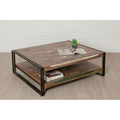 3s x home table basse rectangulaire 120x100cm en teck recycle et metal claudia