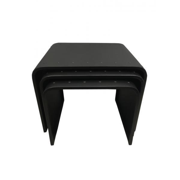 lot de 3 tables basses gigognes en metal noir steel