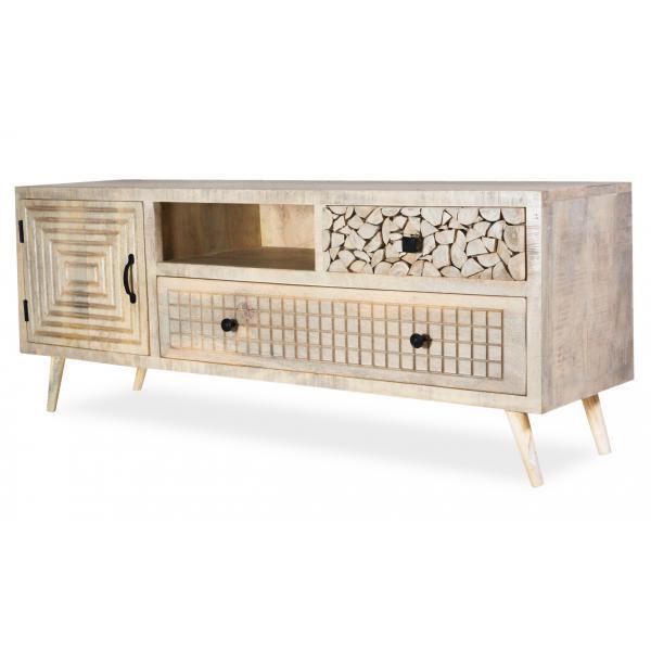 meuble tv en bois d acacia avec 3 tiroirs et 1 placard sahouri