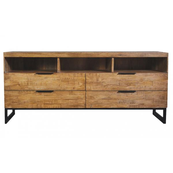 meuble tv en bois massif chene clair avec 4 tiroirs et 3 niches feely