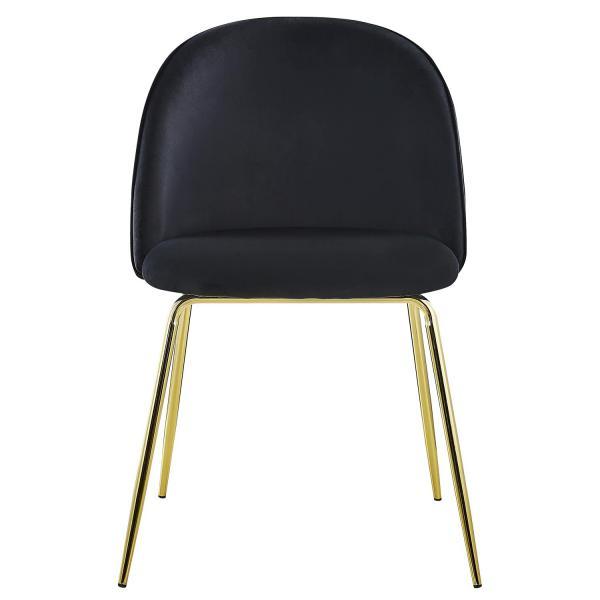 lot de 2 chaises en velours noir et pietement or broh
