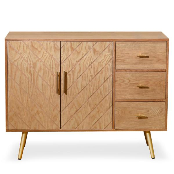buffet en bois clair 2 portes et 3 tiroirs diary