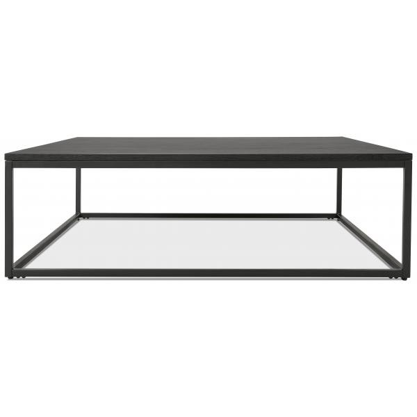 table basse carree noir et pietement en metal noir pietra