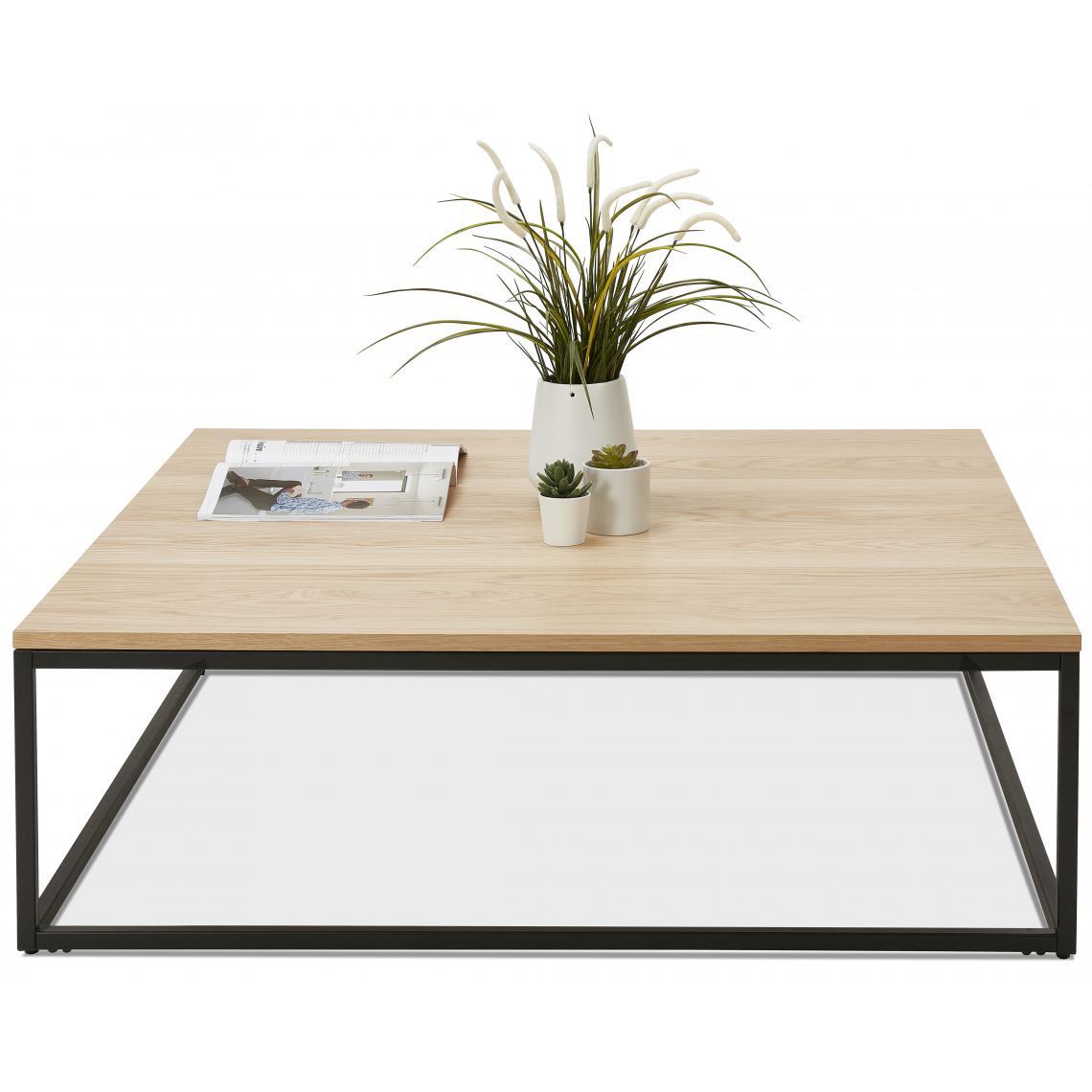 table basse carree beige et pietement