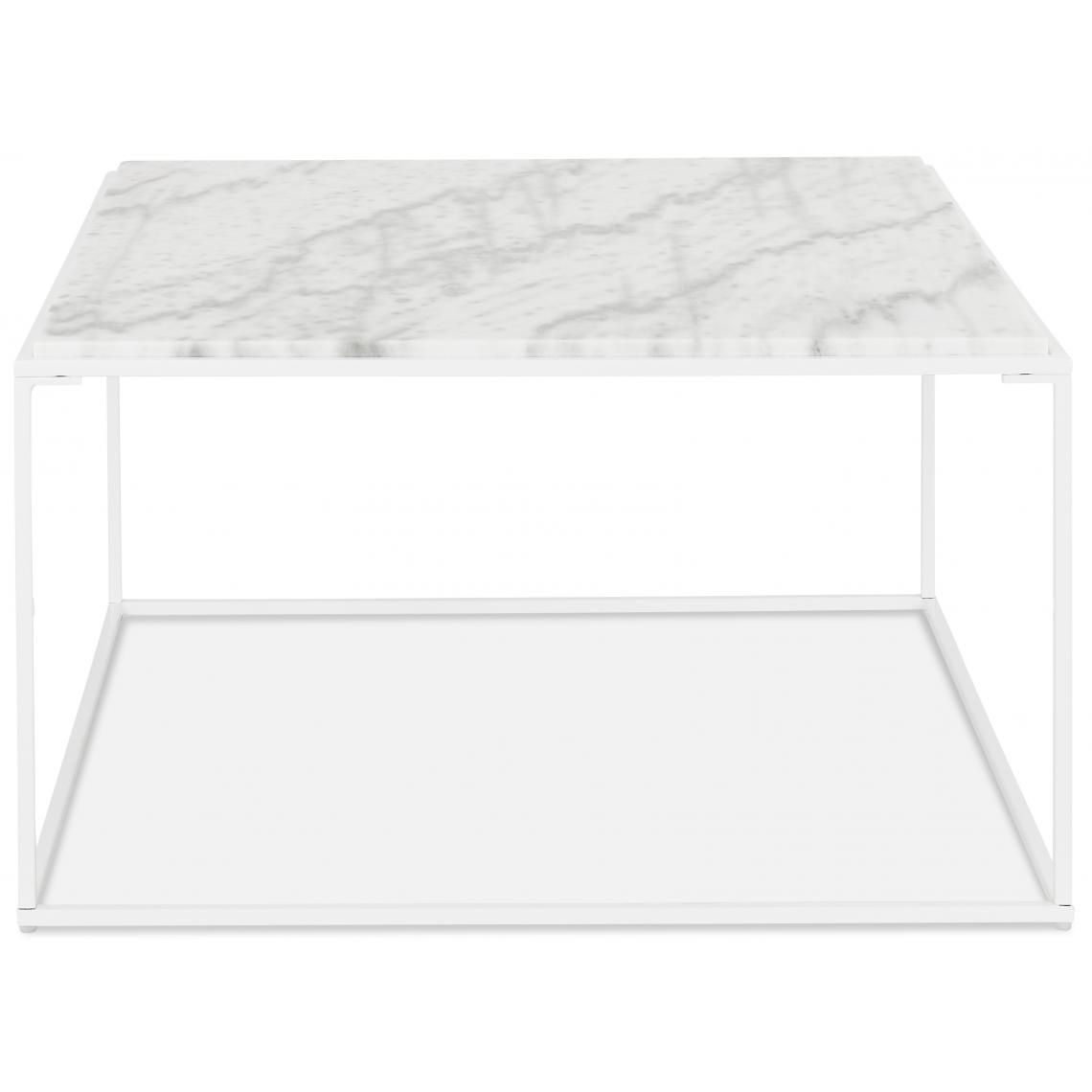 table basse carre blanche effet marbre